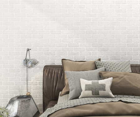carpet clean: 3d rendering retro brown bed in bedroom with brick wall Stock Photo