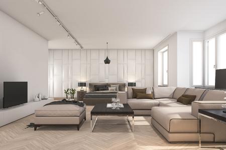 living room design: 3d rendering scandinavian living room and bedroom with tv Stock Photo