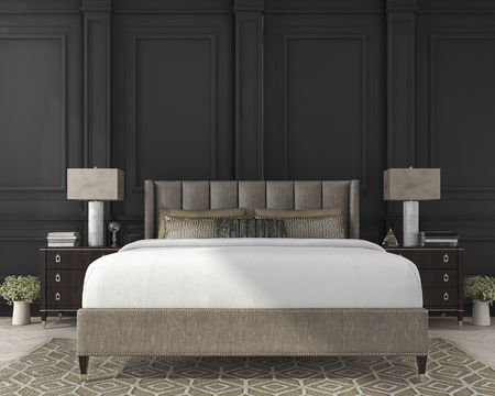 3d rendering classic bed in dark wood bedroom 스톡 콘텐츠