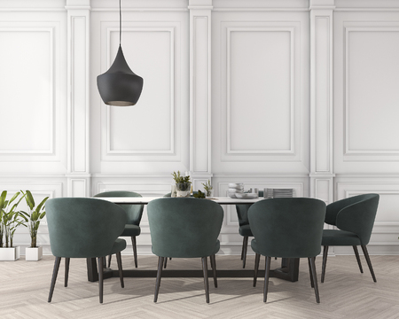 3d rendering classic dining table in white dining room 스톡 콘텐츠