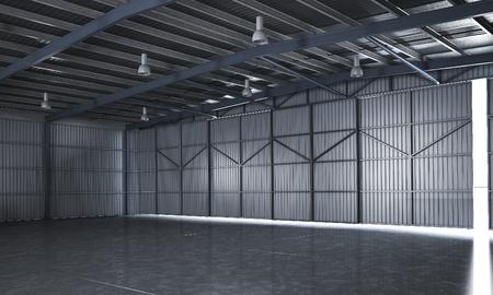 3d rendering beautiful empty metal storage warehouse 写真素材