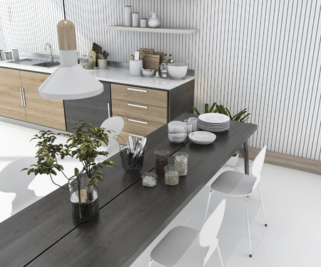 3d rendering wood kitchen bar with dining table and chair Imagens