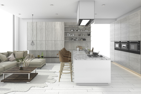 3d rendering white dining set in wood kitchen and living design sofa