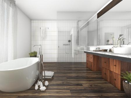 luxury apartment: 3d rendering wood and tile design bathroom near window an curtain