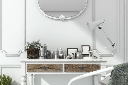 Representación 3d habitación blanca clásica con compone la mesa Foto de archivo - 80024865