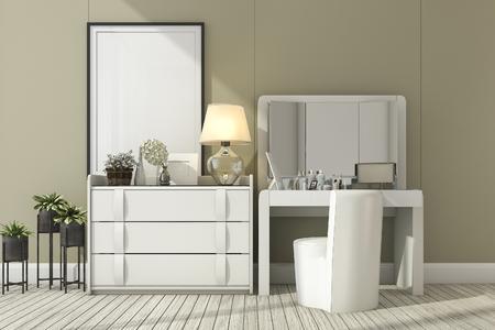 3D-rendering klassieke witte kamer met make-up tafel Stockfoto
