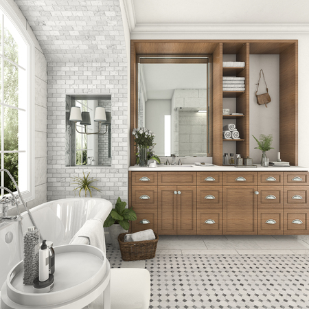 luxury apartment: 3d rendering wood and tile design bathroom near window with arc brick wall