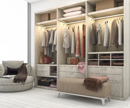 3D-rendering van minimale scandinavische houten inloopkast met kledingkast