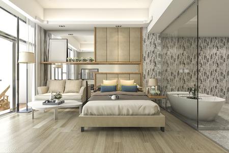 Camera da letto dell'hotel della serie di lusso della rappresentazione 3d con la vasca e la contro barra