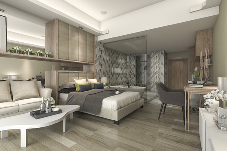 suite: 3d rendering luxury suite hotel bedroom with bathtub and counter bar