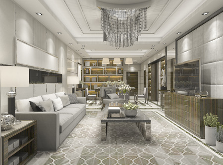hotel building: 3d rendering luxury and modern living room with chandelier