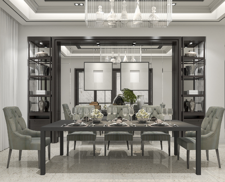 3d rendering luxury and modern restaurant and dining zone