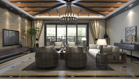 3d rendering tropical style resort suite living reception and lounge