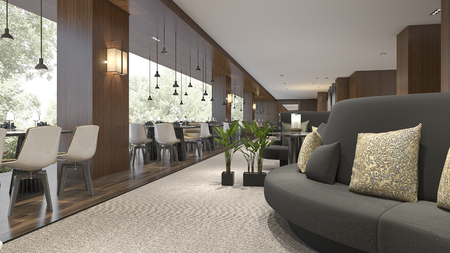 3d rendering luxury hotel reception and lounge restaurant 스톡 콘텐츠