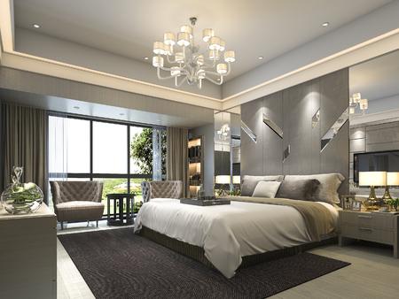 ホテルの 3 d レンダリング高級モダンなベッドルームのスイート ルーム