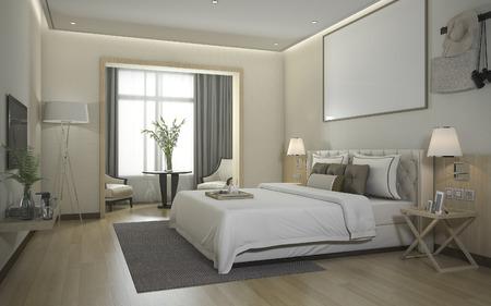 suite: 3d rendering luxury modern bedroom suite in hotel