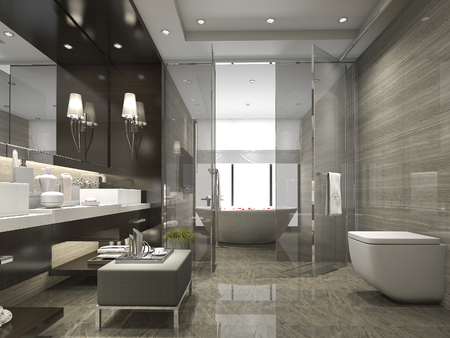3d rendering modern and luxury bathroom and toilet 스톡 콘텐츠