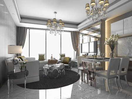 chandelier background: 3d rendering luxury and modern living room and dining room