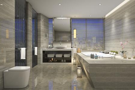 3 d レンダリング現代古典的な高級バスルーム タイル装飾窓から素晴らしい自然の景色と