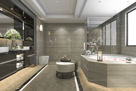 bathroom design: 3d rendering modern classic bathroom with luxury tile decor with nice view from window