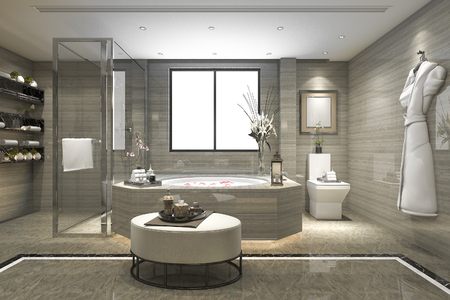 3d Rendering Modern Classic Bathroom With Luxury Tile Decor Stock ...