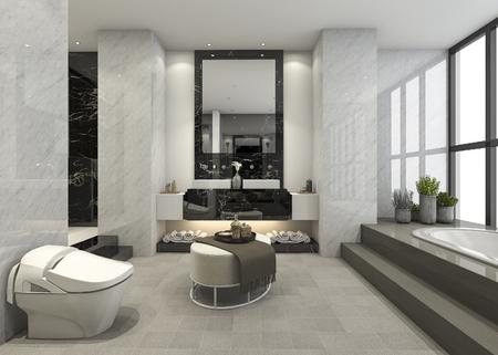 3d rendering modern loft bathroom with luxury tile decor 스톡 콘텐츠
