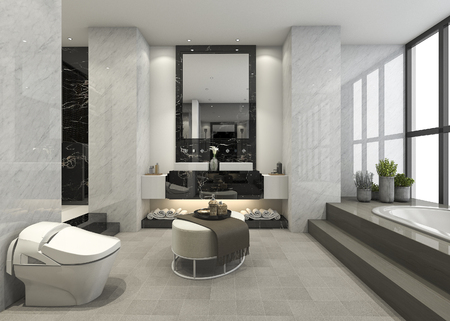 3d rendering modern loft bathroom with luxury tile decor Zdjęcie Seryjne