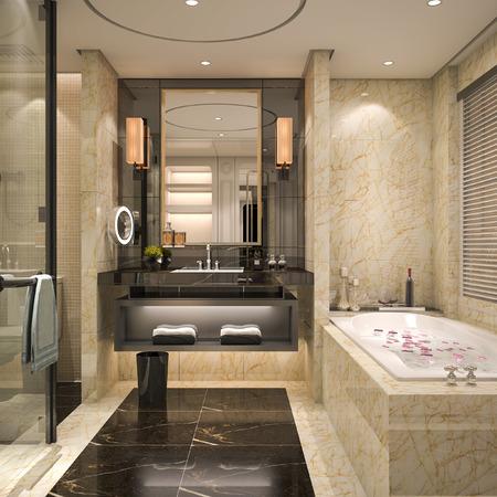 3D-rendering moderne en klassieke loft badkamer met luxe tegel decor Stockfoto