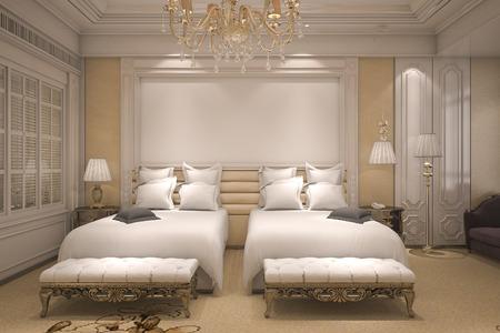 3d rendering luxury modern bedroom suite in hotel with golden decor Stock Photo