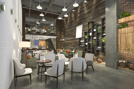 3d rendering loft and luxury hotel reception and cafe lounge restaurant 版權商用圖片 - 83482621