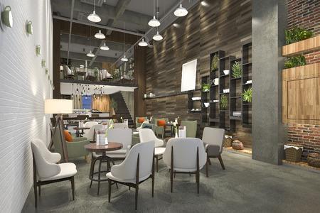 Renderowania 3d loft i luksusowy hotel recepcji i cafe lounge restauracja