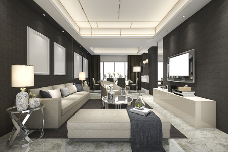 luxury room: 3d rendering luxury and modern living room and dining room