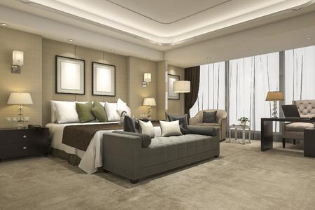 suite: 3d rendering luxury modern bedroom suite in hotel and resort
