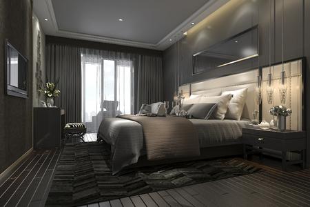 3d 렌더링 호텔 및 리조트에서 검은 럭셔리 현대 침실 제품군