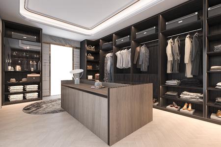 3d renderingu minimalny loft ciemnego drewna spacer w szafie z garderobą Zdjęcie Seryjne