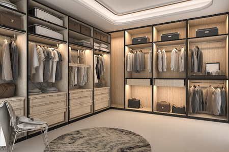3d rendering minimal loft luxury wood walk in closet with wardrobe 스톡 콘텐츠