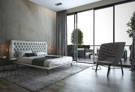 3d rendering loft modern bedroom near window view Stock fotó