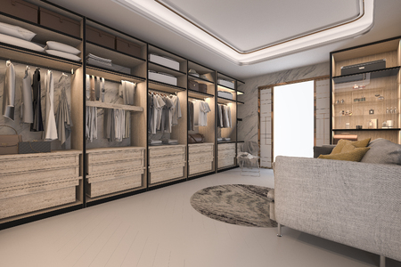 3d rendering minimal loft luxury wood walk in closet with wardrobe Stock Photo