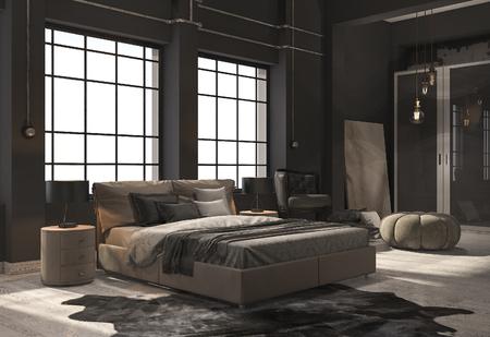 ベージュ色の木製の床で 3 d レンダリング ロフト寝室 写真素材 - 84347100