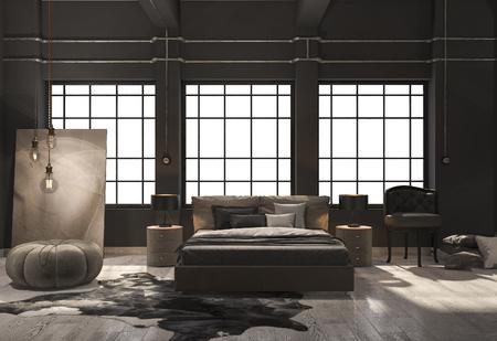 ベージュ色の木製の床で 3 d レンダリング ロフト寝室 写真素材