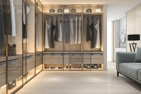 3d rendering minimal scandinavian wood walk in closet with wardrobe