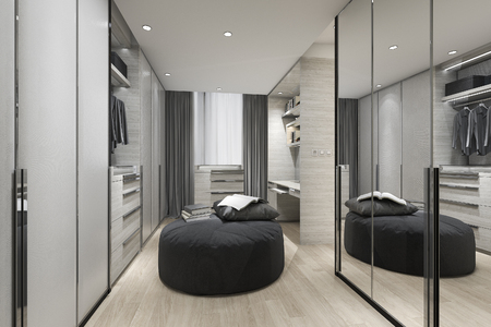 3d rendering black cushion in scandinavian walk in closet with mirror on wardrobe and clothes
