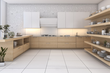 kitchen cabinets: 3d rendering wood loft kitchen with bar and living zone Stock Photo