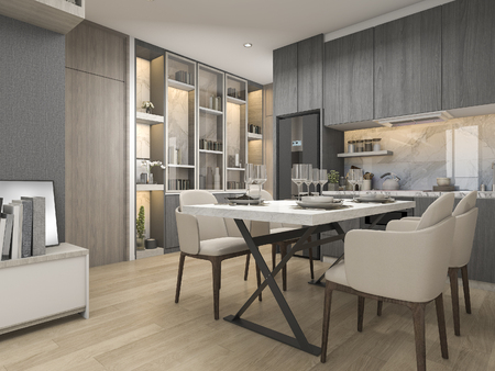 3d rendering white modern and luxury design kitchen with dining table and shelf