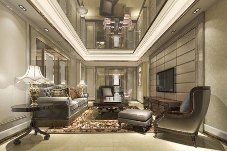 Luxus und modernes wohnzimmer der wiedergabe d und