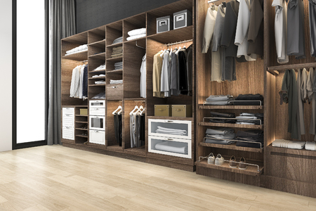 3d rendering minimal scandinavian walk in closet with wood wardrobe Stock Photo