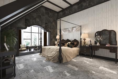 3d rendering vintage luxury modern bedroom suite in hotel and resort