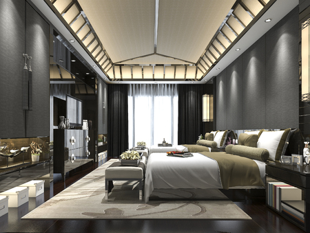3d rendering luxury tropical bedroom suite in resort hotel
