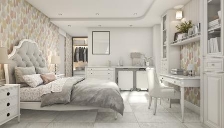3d rendering cozy pastel scandinavian child bedroom with wardrobe Stock Photo