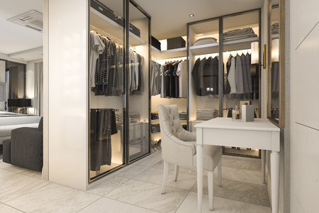 3d rendering white walk in closet with golden decor near bedroom 스톡 콘텐츠